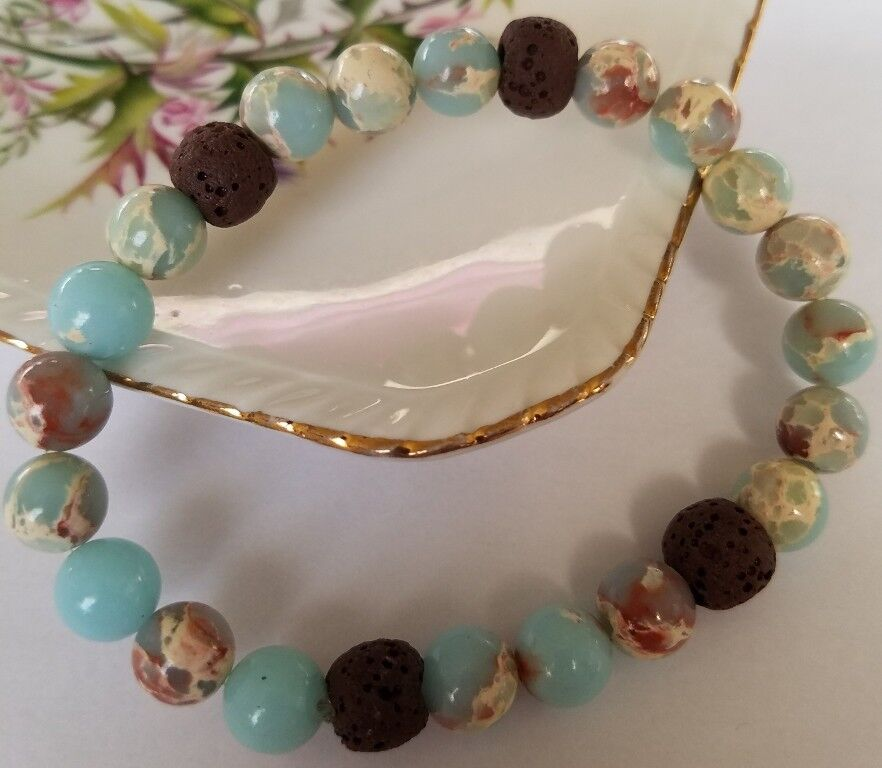 Lava Bead Essential Oil Diffuser Bracelet Synthetic Blue Jas