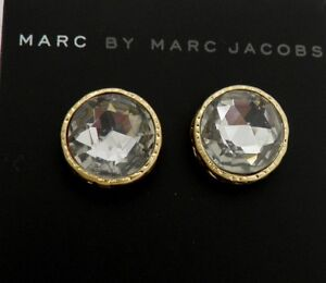 Marc By M Jacobs Exploded Bow Large Crystal Stud Earrings--Gold