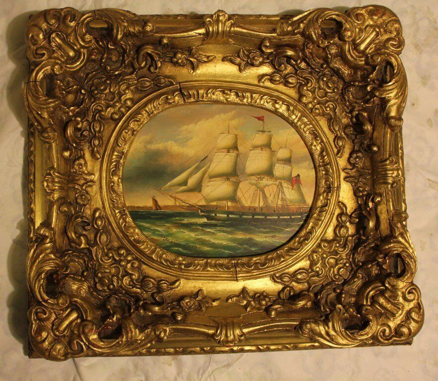 Sailing ship paint picture with James Webb-Dover sign on it. House clearance sale!