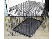LARGE FOLDING BLACK METAL PET / DOG CAGE (BLACK) WITH TRAY L. 36 INCH x WIDTH 24 INCH x H. 28 INCH