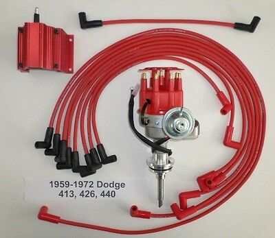 DODGE  1959-1972 440 Red SMALL Cap HEI Distributor, 50K COIL & Spark Plug Wires