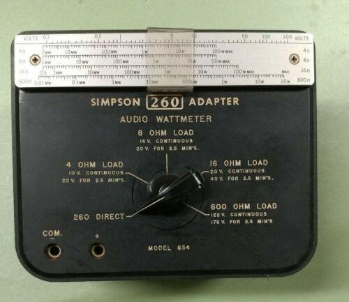 Simpson 260 Adapter Audio Wattmeter - Model 654 for 4/8/16/600 OHM Impedance