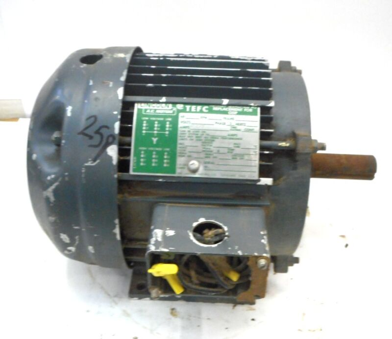 LINCOLN ELECTRIC CO, AC MOTOR, 3666119, TF4182, HP1, 855RPM, 3PH, 60HZ