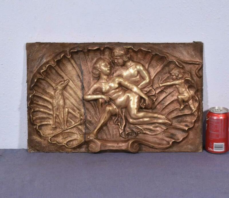 *Large Antique Bronze Sculpture/Plaque/Wall Hanging with a Nude Man and Woman