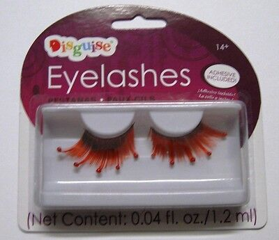 Black and Orange Eyelashes w/ Blood Drops Spooky Halloween Accessory SALE! fnt