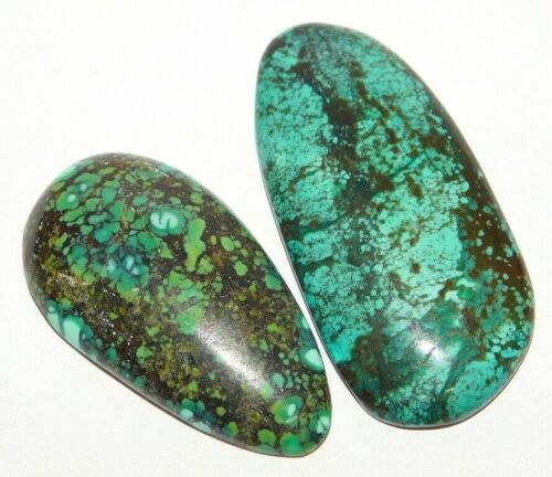 101 Cts Natural Tibetan Turquoise Cabochon Loose Gemstone 2 Pieces 33621