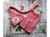 Crochet newborn baby girl trousers and elf hat, baby girl photo prop