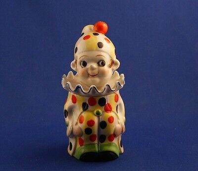 Vintage Japanese Multicolor China Clown Jar Cigarette Jar Orange Yellow c.1935
