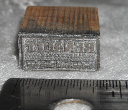 Vintage RENAULT LOGO Letterpress Printers Block ENGRAVED Metal Printing Stamp