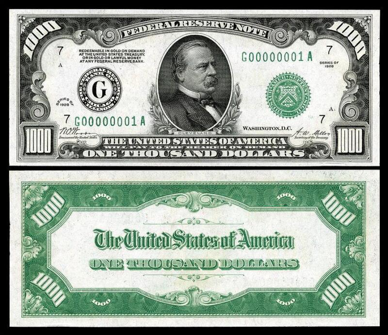 NICE CRISP 1928 $1,000 U.S. FEDERAL RESERVE COPY BANKNOTE! PLEASE READ DESCRI