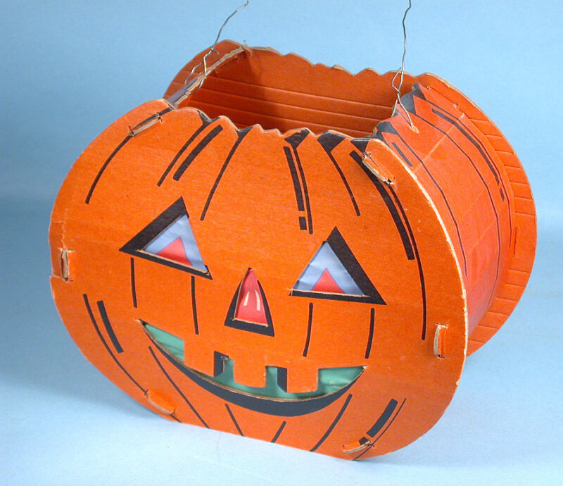 1940s Jack-o-Lantern w/Paper Inserts 2 Faces Slot & Tab Cardboard & Wire Handle