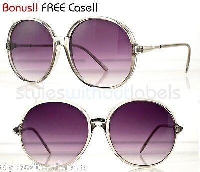 80s Retro Vintage Style Oversized Round Sunglasses Grey