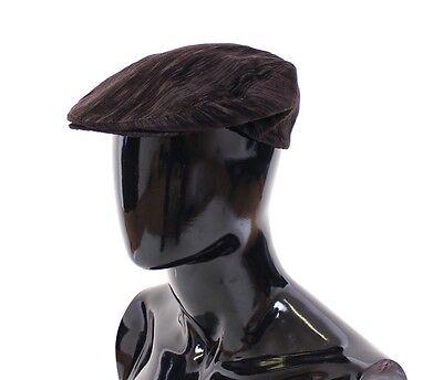NEW $280 DOLCE & GABBANA Brown Cotton Logo Newsboy Cap Hat Cabbie s. 57 / S