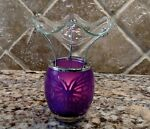 OIL TART WARMER BURNER DIFFUSER PURPLE GLASS Butte picture