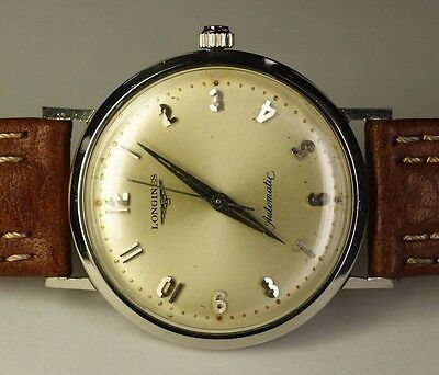 Longines Stainless Steel 17J 19AS Automatic Vintage 1961 Swiss Watch Leather
