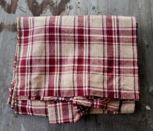 "Vintage Soft Wool Fabric Dark Red and Tan Plaid 112"" x 62"" - 3 Yards"