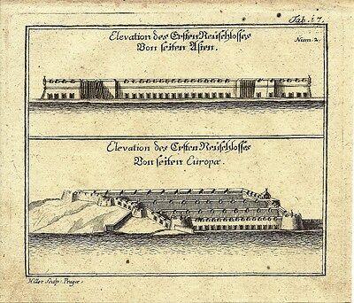 Antique engraving, Reitschloss plate 17
