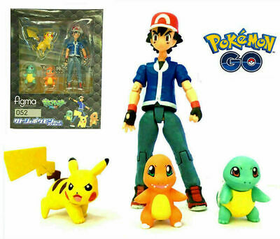 Figma 052 Pokemon GO Ash Ketchum Pikachu Squirtle Charmander Action Figures Toy
