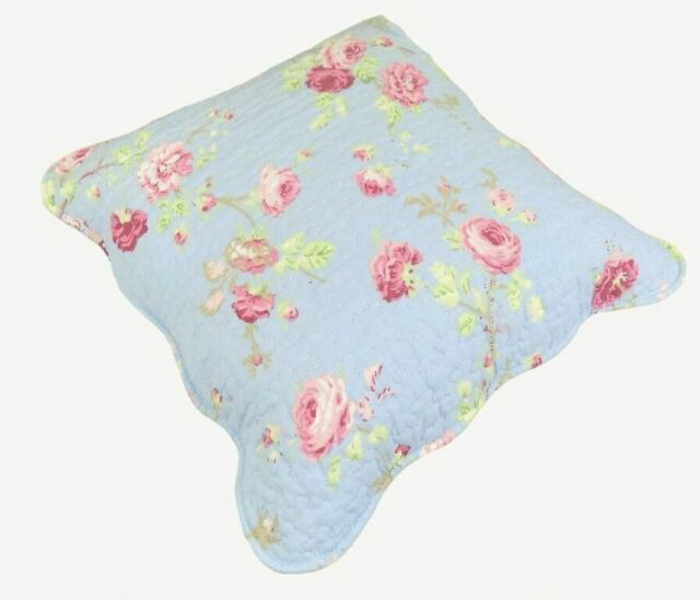 "DUCK EGG BLUE PINK ROSE SHABBY 100% COTTON CUSHION CHIC COVER 18"" - 45CM"
