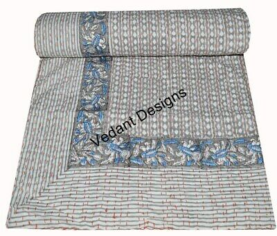 Queen Size Cotton Kantha Quilt Reversible Blanket Throw Print Bed Sheet Sari  for sale  Shipping to India