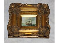 Small paint picture of the sailing ship in a gild frame