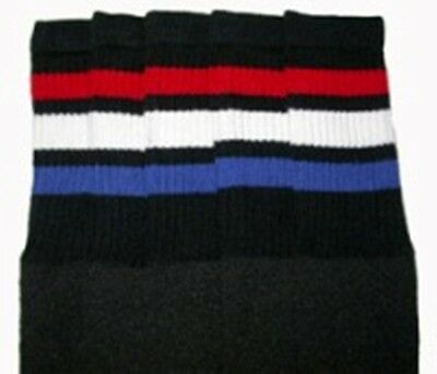 "22"" KNEE HIGH BLACK tube socks w/ RED/WHITE/ROYAL BLUE stripes style 1 (22-117) ](Red And White Striped Knee Socks)"
