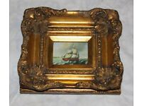 Small paint picture of the sailing ship in a gild frame. House clearance sale!