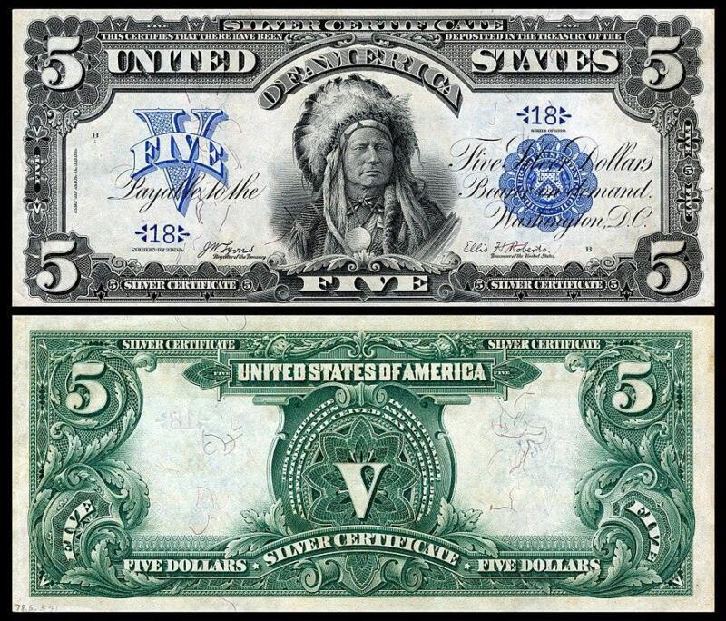 BEAUTIFUL 1899 $5 SILVER CERTIFICATE INDIAN CHIEF COPY PLEASE READ DESCRIPTION!