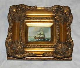 Small paint picture of the sailing ship in a gild frame House clearance sale!
