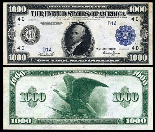 NICE  CRISP UNC. 1918 $1,000 FEDERAL RESERVE NOTE COPY!