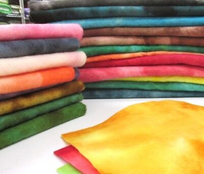 """Hand Dyed 100% Wool Felt 9""""X12"""" Sheets - Light weight thick felt"""