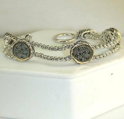 Micro Pave Antique Black Cubic Zirconia Toggle Bracelet