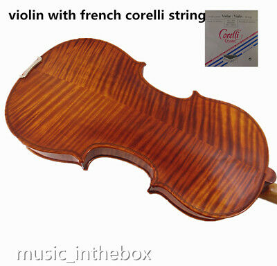 #V121 Used/Old Beautiful 4/4 flamed back violin with corelli string + case +