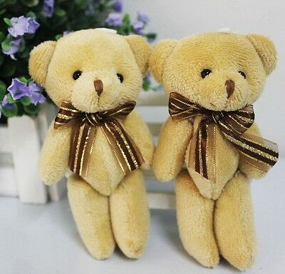 Cute Soft Plush Stuffed Mini Brown Ribbon Teddy Bear Toys Doll for Bouquet New