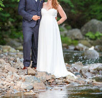 Galina Wedding Gown with Lace Applique - empire waist