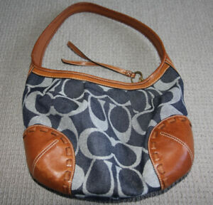 Authentic Denim and Leather Coach Purse Bag