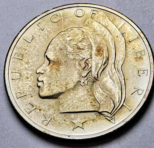 1968 LIBERIA 25 CENTS BU UNC BEAUTIFUL COLOR TONED COIN