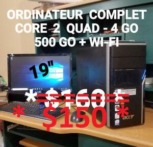 ORDINATEUR VRAIMENT COMPLET CORE 2 QUAD- 4GO-500 GO+WI-FI