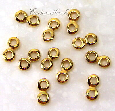 2 Hole Nugget 5 mm Spacer Bars, TierraCast, Gold Plated Pewter, 5 Pieces, 6125 Plated 2 Hole Spacer