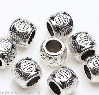 Wholesale 50 Pcs Silver Plated Spacer Beads Loose Charms DIY Jewelry Making