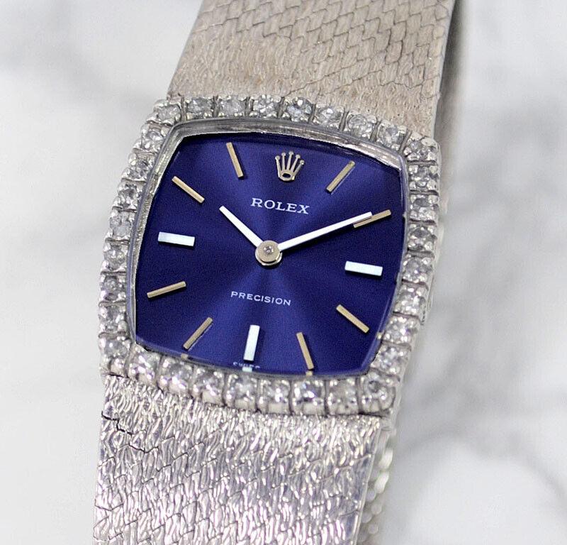 VINTAGE ROLEX PRECISION MANUAL CAL1400 JEWELS BEZEL BLUE DIAL WOMEN'S WATCH