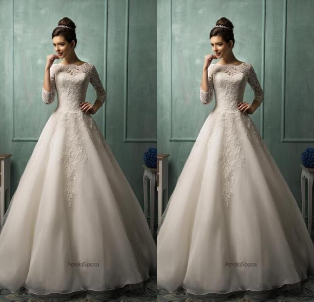 Amelia Sposa A Line Wedding Dresses Long Sleeve Princess