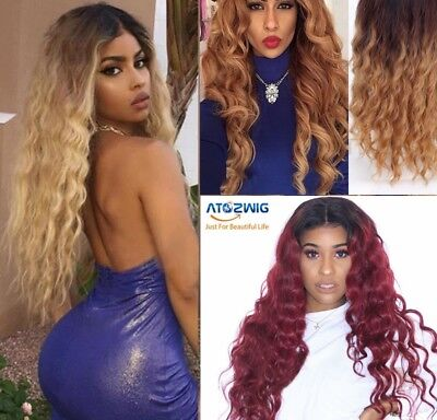 Long Halloween Party Wigs Afro Curly Ombre Blonde Black Red Full Wigs For - Long Halloween Wigs