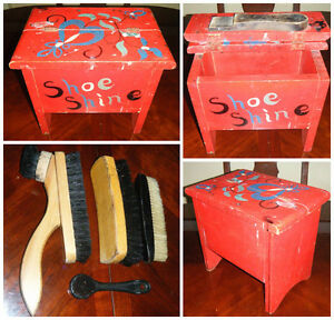 Vintage/Antique Shoeshine Box complete with 4 horsehair brushes.