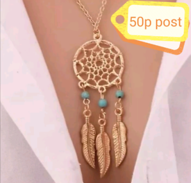 N1 Jewellery Necklace Women's Gold Dream Catcher Turquoise