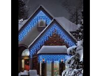 100 Electric Blue Connectable Icicle LED Lights Outdoor