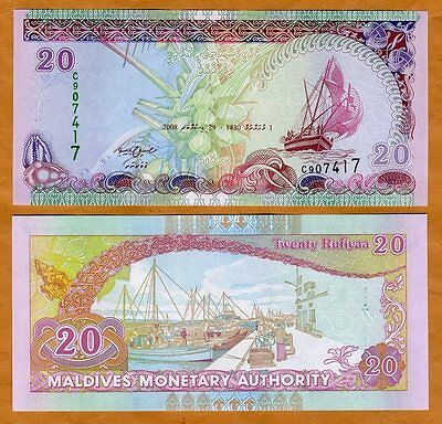 Maldives  20 Rufiyaa  2008  P 20  20B   Unc