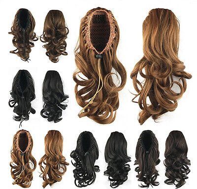 (Women Wavy Ponytails Synthetic Hair Drawstring Ponytail Medium Hair Extension)