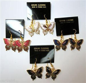 Cloisonne Enamel Butterfly Gold Tone Earrings (1 pair)