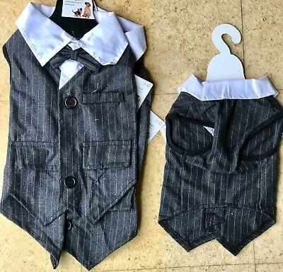 Dog /CAT Outfit Smart Suit Pinstripes Best Man Outfit Dress Up 20cm Clothes. (Best Dress Up Outfits)